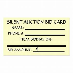 silent auction bid card in cream double sided standard With auction bid cards template