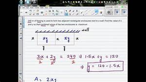 Using Calculus To Find Maximum Area Of A Rectangular