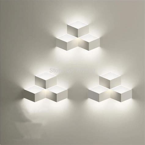 modern brief iron box cube wall light l sconce led included 220 light led wall lights
