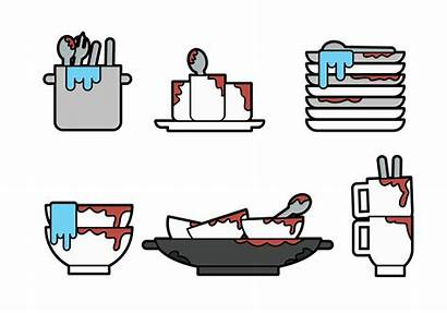 Dishes Vector Dirty Clipart Spoon Graphics Vectors