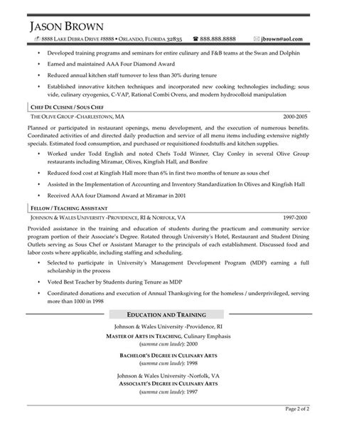 chef cook resume exles http www jobresume website
