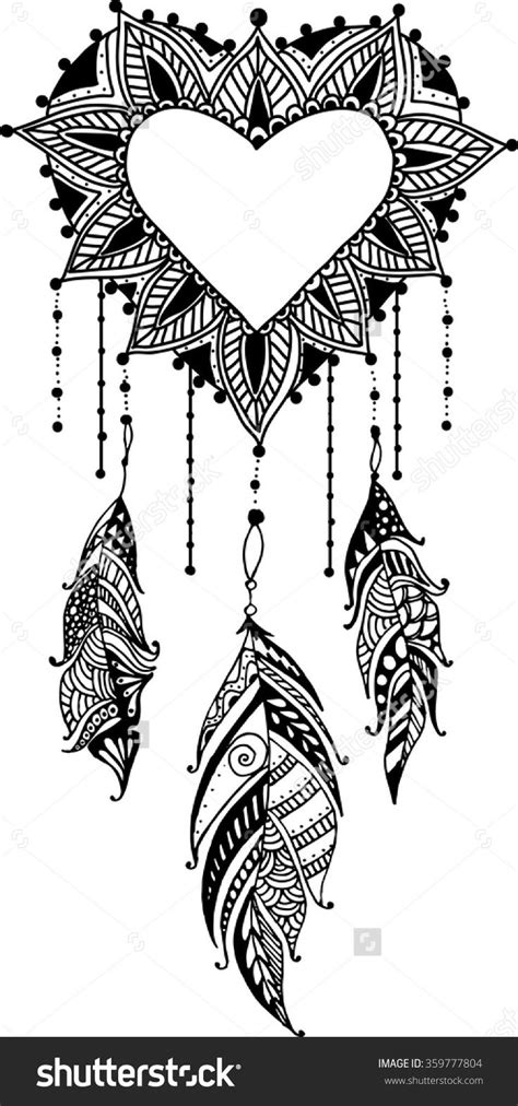 Hand-Drawn Heart Mandala Dreamcatcher With Feathers. Ethnic | Odds and Ends in 2019 | Dream