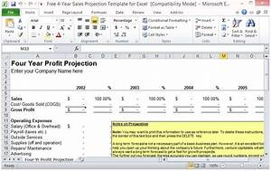free 4 year sales projection template for excel With annual projection template
