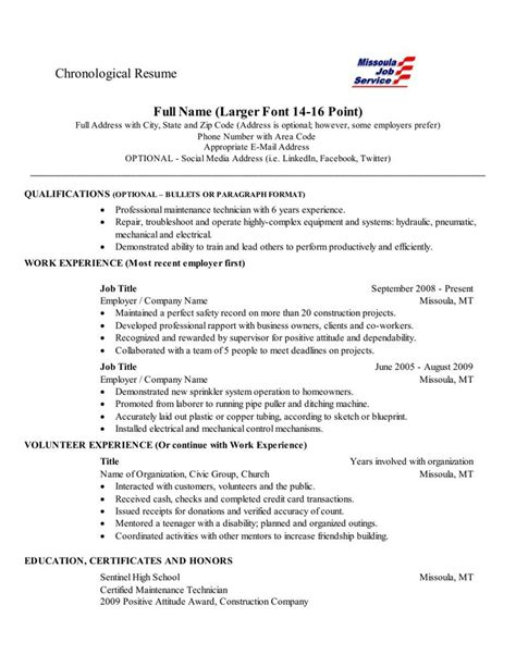 Employment History Order On Resume by Chronological Resume This Is A Fairly Standard Layout For