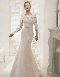 mermaid lace wedding dress with 3 per 4 sleeves and court With 3 4 sleeve lace wedding dress