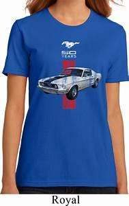 Ladies Ford Shirt Red Stripe Mustang 50 Years Organic Tee T-Shirt - Red Stripe Mustang 50 Years ...