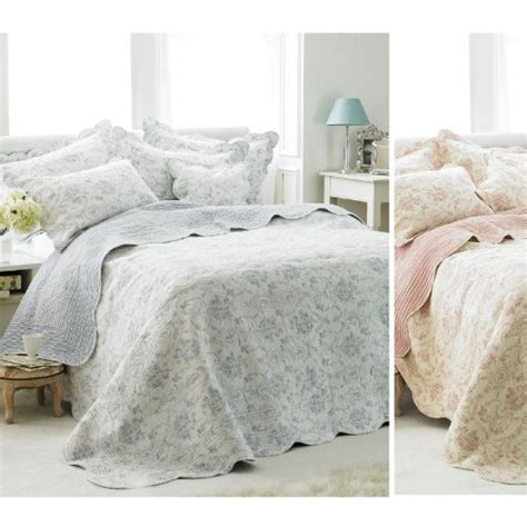 shabby chic toile bedding french vintage toile bedspread luxury 100 cotton soft quilted bed throw over shabbychic
