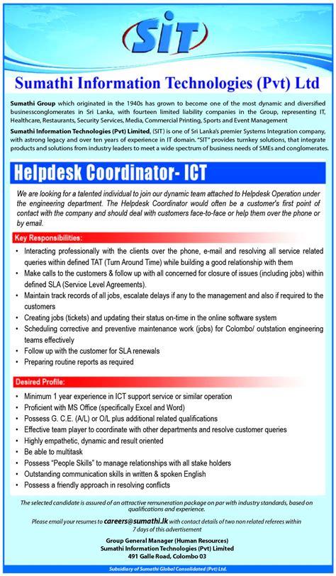 help desk coordinator help desk coordinator ict