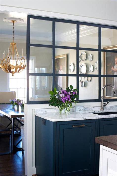 Glass Partition Over Kitchen Sink  Contemporary  Kitchen