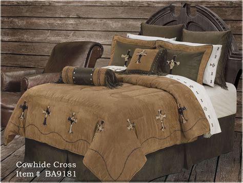 new western rustic cowhide cross comforter bedding super