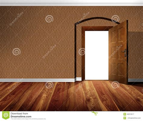 Open Door, Wallpaper Wall, Wooden Floor Stock Image