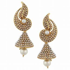 Buy White flower Indian pearl jhumka earring jhumki Online