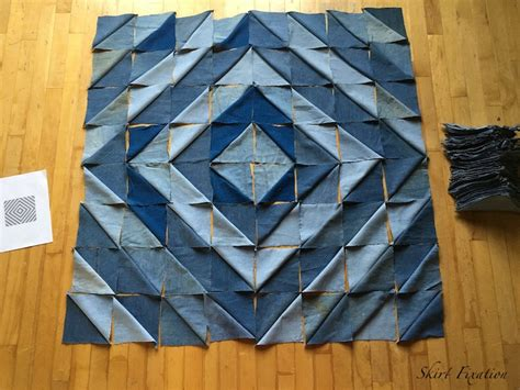 Light Blue Jeans by Denim Quilt Made From Old Jeans Skirt Fixation