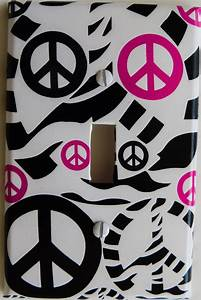 Hot Pink Zebra Print Peace Sign Light Switch Plate Covers