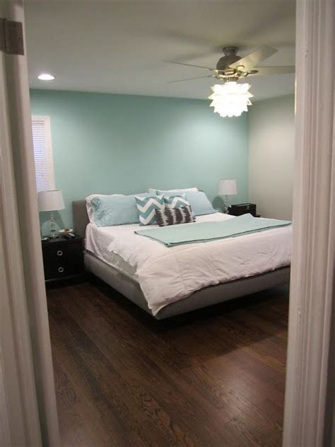 Aqua Accent Wall With Greyand That Fan Light!!  { Home