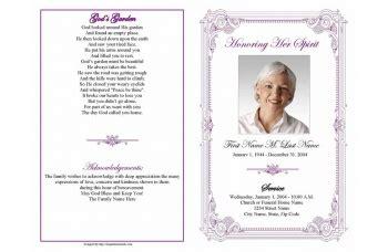 purple frame funeral program template elegant memorials