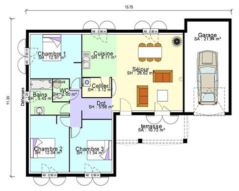 plans de maison plain pied 3 chambres maison contemporaine plans maisons