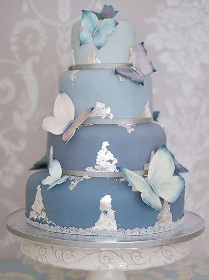 blue butterfly wedding cake  splashes  silver