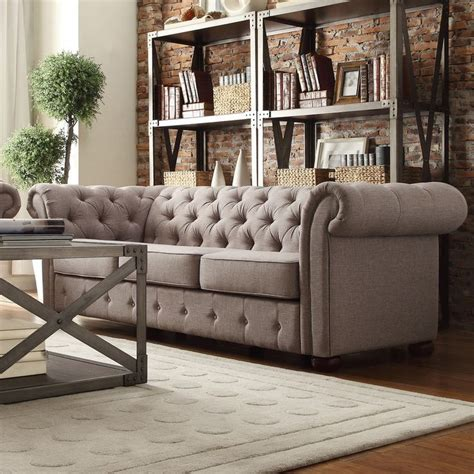 tribecca home knightsbridge linen tufted scroll arm chesterfield sofa by tribecca home grey