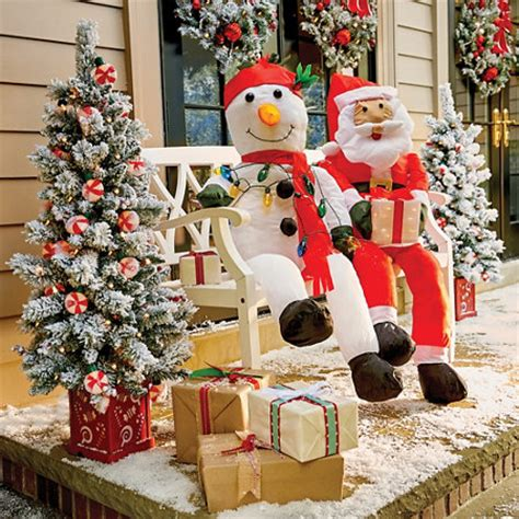 stuffable santa claus snowman outdoor porch decoration