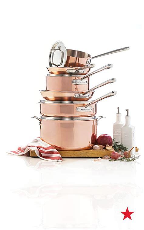 martha stewart collection tri ply copper  piece cookware set