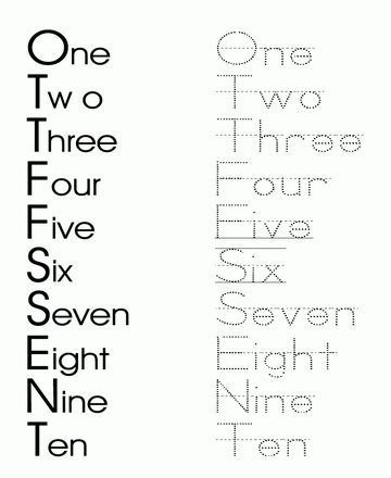 printable dotted numbers  trace printable number