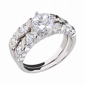 125 carats round cubic zirconia rhodium ep bridal With rhodium wedding ring sets