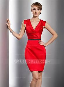 sheath column v neck short mini satin cocktail dress with With robe de soirée courte rouge
