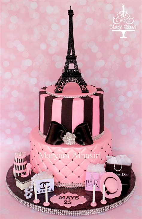 Parisian Theme Cake #pariscake #eiffeltower #pinkandblack