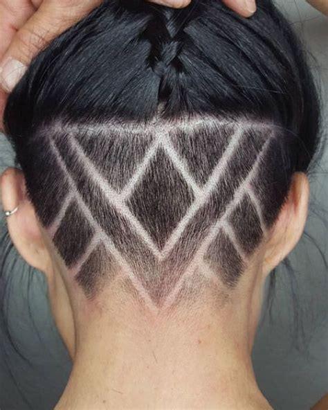 nape shaved design women    nape haircut