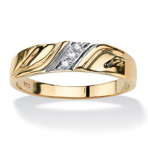 men s diamond accent 18k gold over sterling silver diagonal wedding band ring at palmbeach jewelry