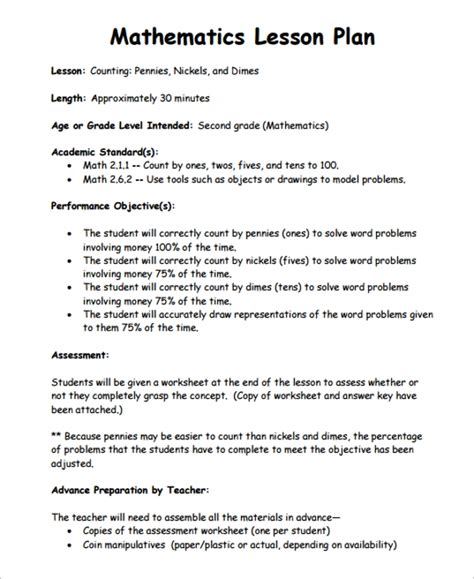 sle math lesson plan template 10 free documents
