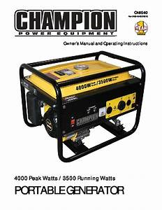 Champion 3500 4000 Generator Owners Manual
