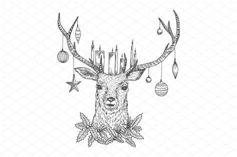 christ mas one drawing photo sketch deer illustrations creative market