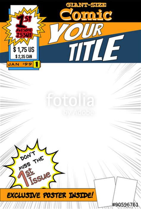 comic book cover template quot editable comic book cover with blank space quot stock image and royalty free vector files on