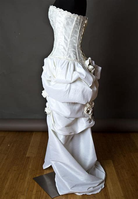 embroidery ivory steampunk burlesque corset wedding gown