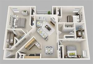 20 designs ideas for 3d apartment or one storey three With three bedroom apartment planning idea