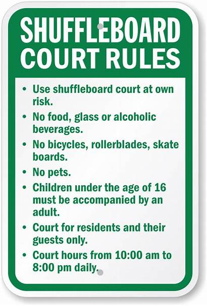 Shuffleboard Rules Court Sign Own Beverages Bicycles