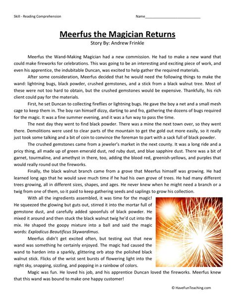 reading comprehension worksheet meerfus the magician returns