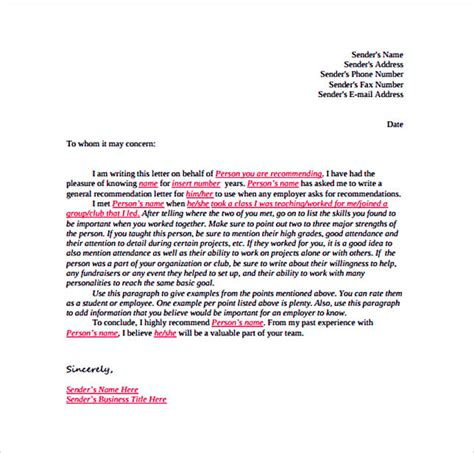 reference letter template details   include