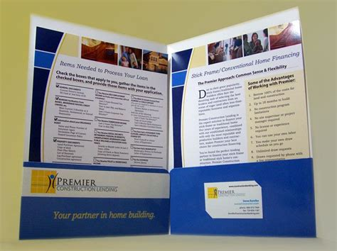 premier construction lending folder  sales sheets