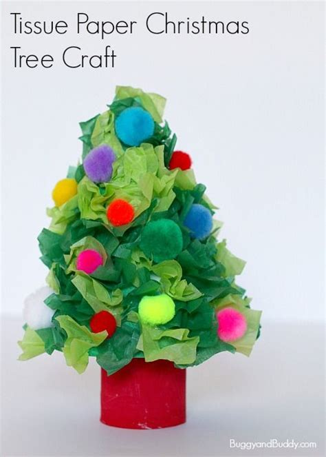 christmas tree craft  tissue paper buggy  buddy