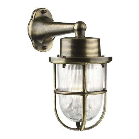 nautical design outdoor wall light antique brass with