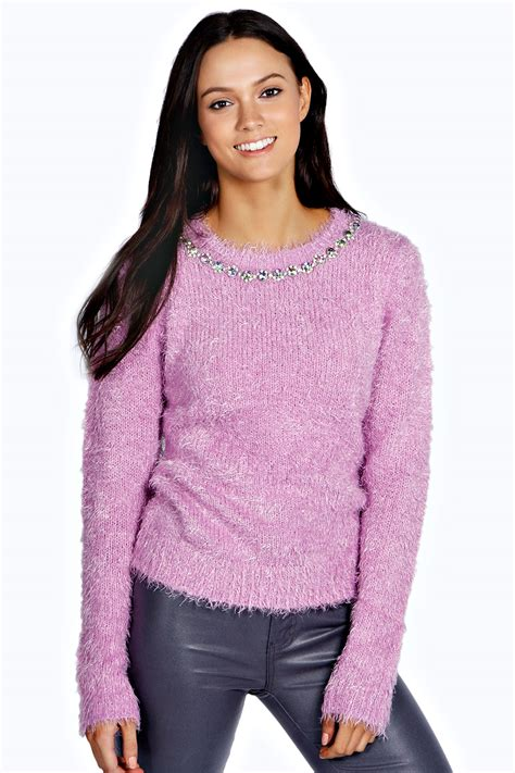 womens sweaters boohoo womens dems fluffy jumper sweater pullover