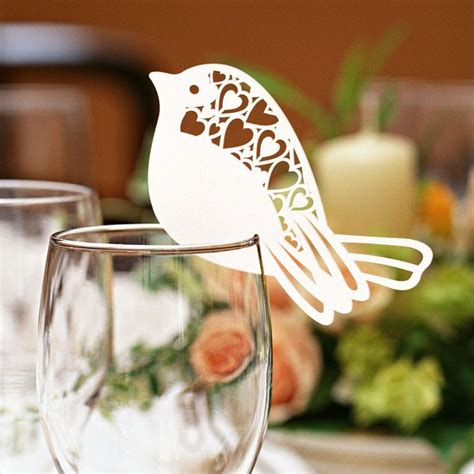 wine glass placement on table 50pcs lot bird shape wine glass place cards table mark