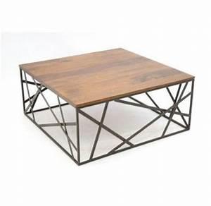 Table Basse En Fer Forgé : 773400 table basse metal fer forge et bois 90x90cm table basse pinterest table basse metal ~ Teatrodelosmanantiales.com Idées de Décoration