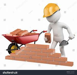 3d White Worker Building Brick Wall Stock Illustration