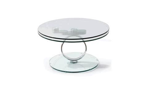 table basse ronde en verre 224 double plateaux
