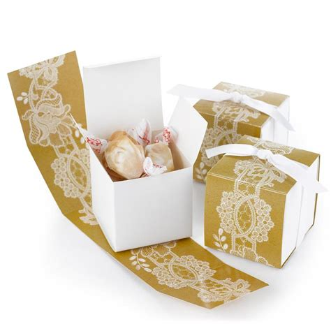 Rustic Lace Wrap Favor Boxes Pack Of 25 Candy Cake