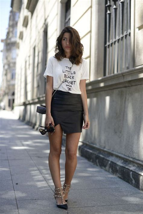 Black leather mini skirt + white tee | Wear | Pinterest